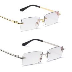 Mens Rimless Blue Light Blocking Reading Glasses Rectangle R