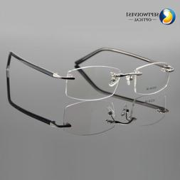 Mens Rimless Metal Reading Glasses +1.00 to +4.00 Strength R