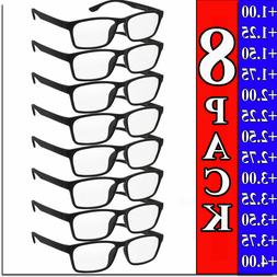 Mens Womens Reading Glasses 8 PACK Square Frame Readers Unis