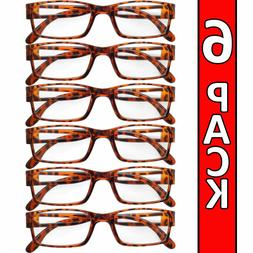 Reading Glasses Mens Womens Readers 6 PACK Square Frame Unis