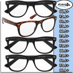 Mens Womens Reading Glasses 4 Pairs Unisex Classic Retro Sty