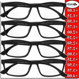 Reading Glasses Mens Womens Unisex Readers 4 PACK Square Fra