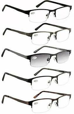 Eyecedar Metal Half-Frame Reading Glasses Men 5-Pack Spring