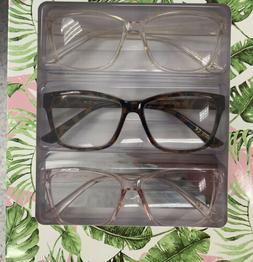 NIB Betsey Johnson 3 Pair COLOR Readers Reading  Glasses +2.