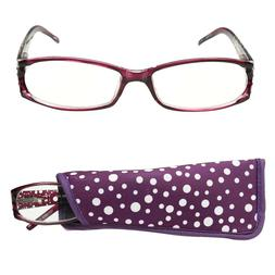 Pretty Purple +2.75 Readers by Foster Grant Soft Case & Lany