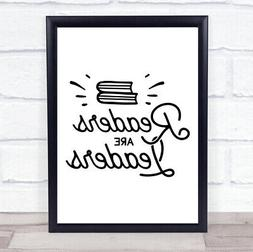 readers are leaders quote typogrophy wall art