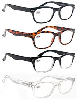 MODFANS Reading Glasses 3.5 Men Women 4 Pack Readers with Co