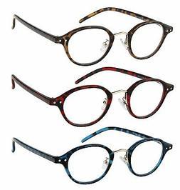 Reading Glasses 3 Pack Fashion Comfort Spring Hinge Readers