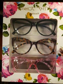 BETSEY JOHNSON Reading Glasses 3 Readers THICK OVERSIZED CAT
