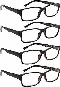 Reading Glasses 4 Pack Comfort Spring Hinge Quality Readers