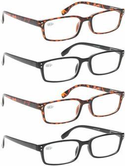 Reading Glasses 4 Pack Spring Hinge Comfort Readers Plastic