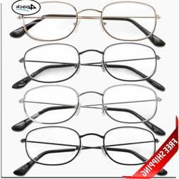 READING GLASSES 4 Pair Metal Frame UNISEX CLASSIC STYLE LENS