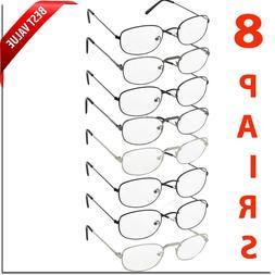 READING GLASSES 8 PACK METAL LOT CLASSIC READER UNISEX MEN W