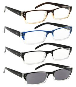 GUD Reading Glasses for Women and Men - 4 Pack of Readers Sp