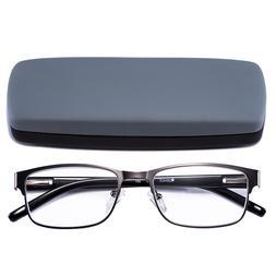 Reading Glasses Readers Metal Deluxe Rectangular gun Frame B
