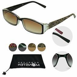 Womens Tinted Reading Sunglasses Full Lens Sun Readers Recta