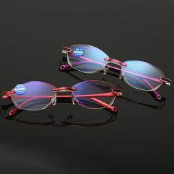 Rimless diamond-cut reading glasses for reader Women +1.0 1.