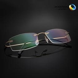 Rimless Titanium Alloy Reading Glasses UV400 Coating Lens Re