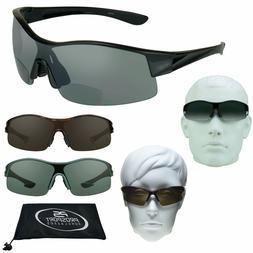 Sport BIFOCAL Sunglasses Tinted Wrap Sun Reader Cheaters Wid