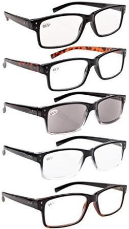 Eyekepper 5-pack Spring Hinges Vintage Reading Glasses Men+2