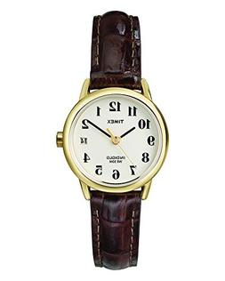 Timex Women's T20071  Indiglo Leather Strap Watch, Brown Cro
