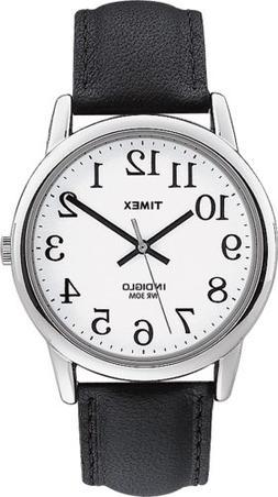 Timex Men's T205019J Easy Reader Black Leather Strap Watch