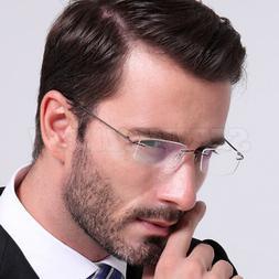 Titanium Rimless Reading Glasses UV400 Radiation Protection