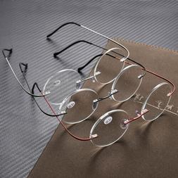 Vintage Rimless Reading Glasses Men Women Round Readers 1.0