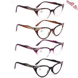 Womens Spring Hinge Sexy Reading Glasses Cat Eye Readers 1.0