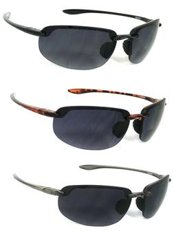 Wrap Rimless Bifocal Sunglasses Sport Sun Reader Reading Gla